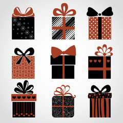 Vector set of black-and-white-red gifts