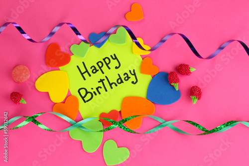 "Card ""Happy Birthday"" surrounded by festive elements"
