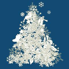 Moderner Weihnachtsbaum in Weiss