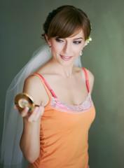 Young caucasian beautiful bride