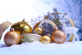Fototapety Christmas decorations on light background