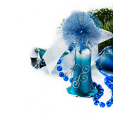 Blue Christmas decoration bells on light background