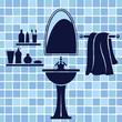 Blue bathroom interior - 59035055