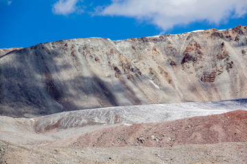 Ice glacier in colored mountains. Tien Shan