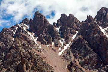 Sharp red mountain peaks. Tien Shan