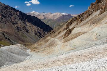 Twisting mountain road. Kyrgyzstan