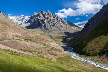 Amazing landscape of mountains, river and sky