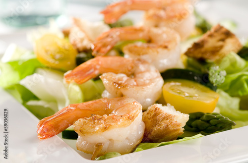 salad with shrimp and vegetables.