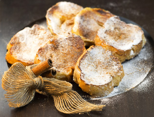 Rabanadas or torrijas. Traditional Brazilian and Spanish food.