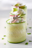 crab Salad appetizers in cucumber bowls.