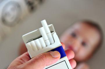 Smoking near children concept photo
