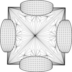 Geometric Subtraction Of Octahedron And Two Cylinder Vector