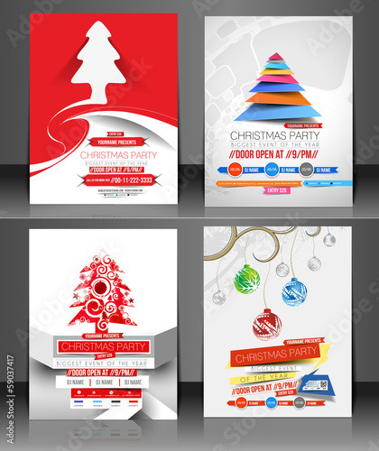 Set of Christmas Party Flyer Design
