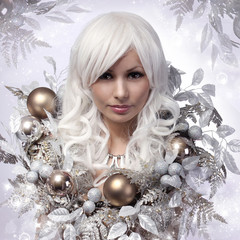 Christmas or Winter Woman. Snow Queen. Portrait of Fashion Girl