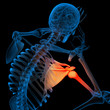 Skeleton of the man with the backbone - pain shoulder