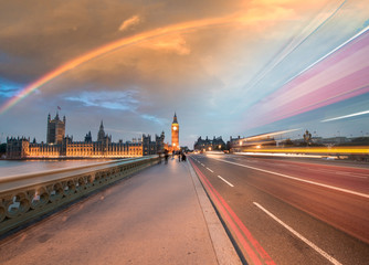 Rainbow over Houses of Parliament and Westminster Bridge - Londo