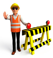 worker with Under construction