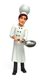 Chef with frying pot