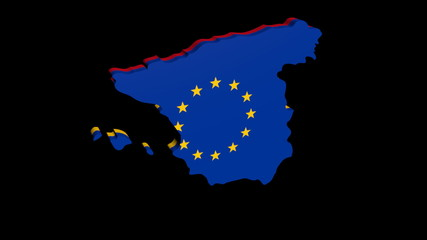 Spain map with Spanish and EU flag rotating animation