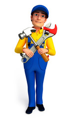 Worker with hammer & wrench