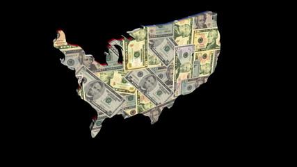 USA map with American flag and Dollars rotating animation