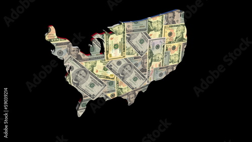 USA map with American flag and Dollars rotating animation