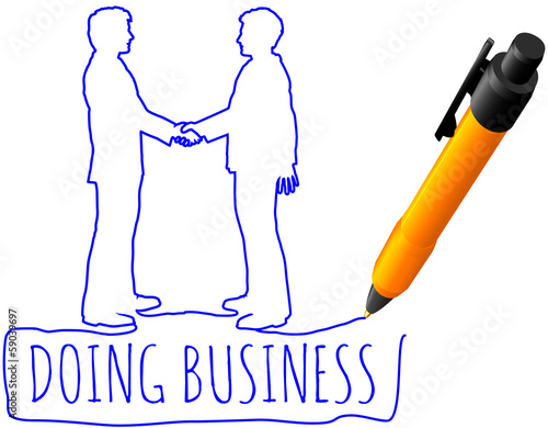Drawing business people handshake deal