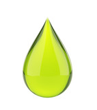 Falling green drop on white isolated with clipping path.