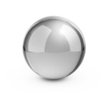 Metal sphere render on white isolated with clipping path