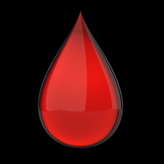 3D red blood drop isolated on black with clipping path
