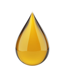 Oil drop on white isolated with clipping path.