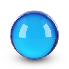 Blue clear glass sphere on white isolated with clipping path