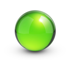 Green sphere render with shadow on white - clipping path