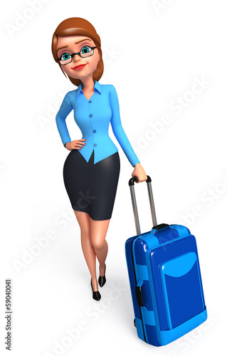 Office girl with trolley bags