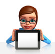 Office smart girl with ipad