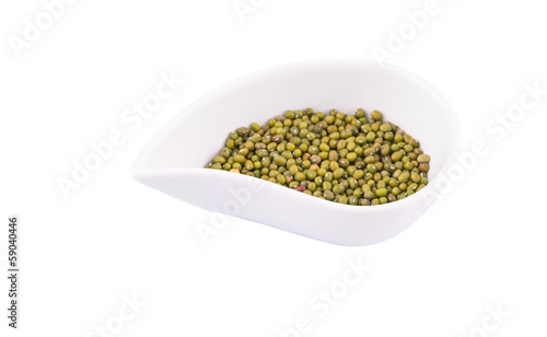 Mung beans in a white ceramic bowl