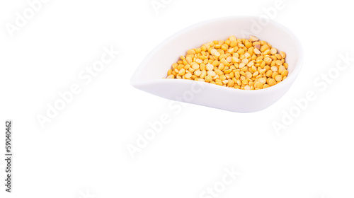 Split Toor Dal in white ceramic bowl