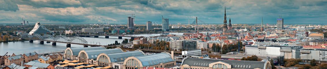 Panoramic view on the center of Riga city, Latvia