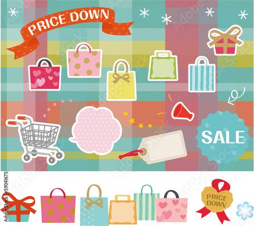 ショッピングバッグとセールの素材