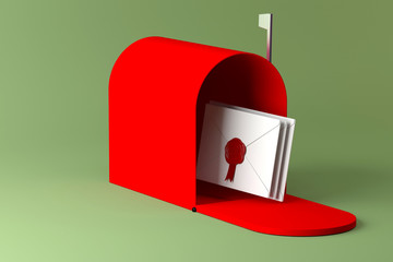 Red mailbox and letter