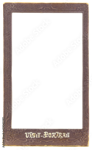 ancient ornamental photo paper card frame  on white background