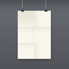 White poster template on a rope, vector.