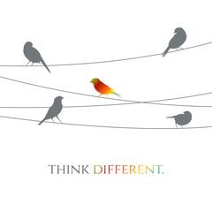 vector birds on wire illustration - business idea concept