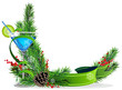 Blue cocktail, spruce branches and ribbon