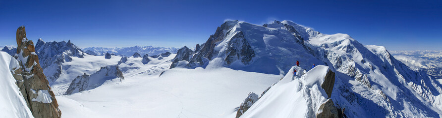 Mont Blanc and Vallee Blanche seen from Aiguille du Midi