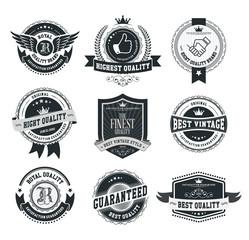 Set of vintage badges and labels dark series