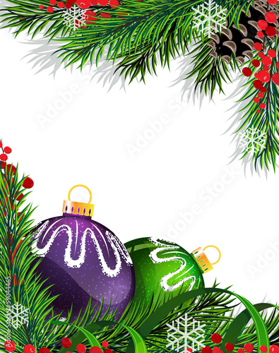 Christmas tree decorations with green ribbon