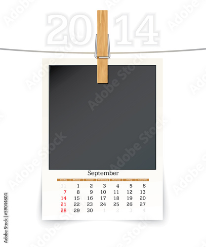 september 2014 photo frame calendar