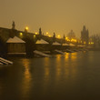 Charles bridge during night in winter, Prague, Czech Republic