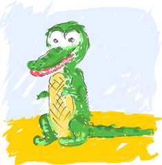 vector colorful sketch of funny crocodile on yellow background